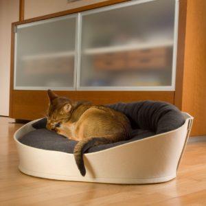Corbeille en feutre chat – ARENA -Écru