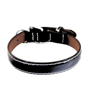 Collier pour chien en cuir vernis noir – LUCIDA