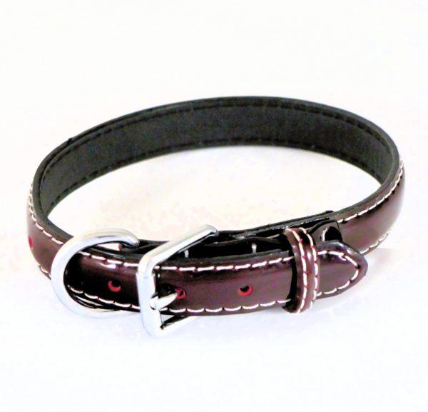 Collier pour chien en cuir vernis rouge bordeaux - LUCIDA