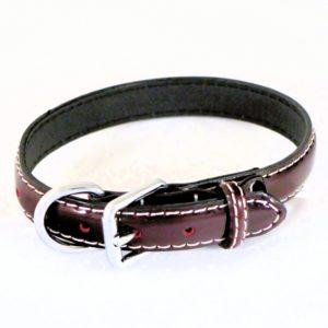 Collier pour chien en cuir vernis rouge bordeaux – LUCIDA