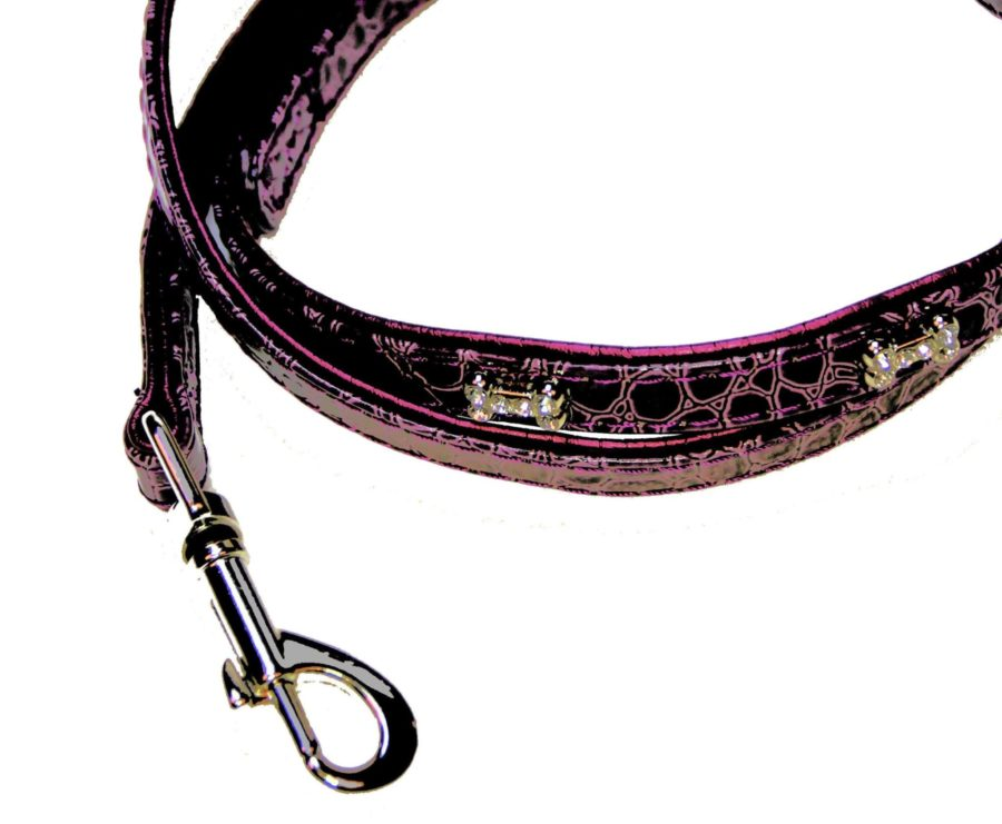 Laisse pour chien avec brillants - CROCO violine