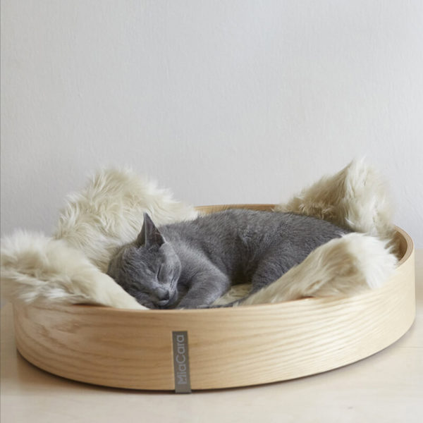 Corbeille lit design pour chat - ANELLO Hêtre