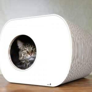 Griffoir niche en carton pour chat – BROCHHAUS JNR – Blanc