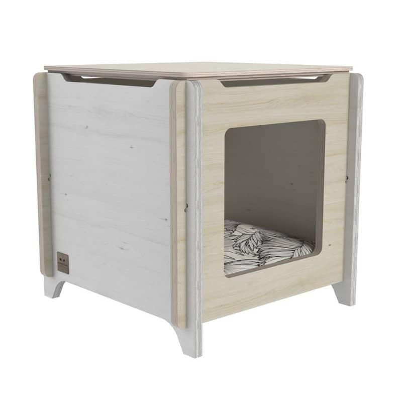Couchage pour chat en bois cub
