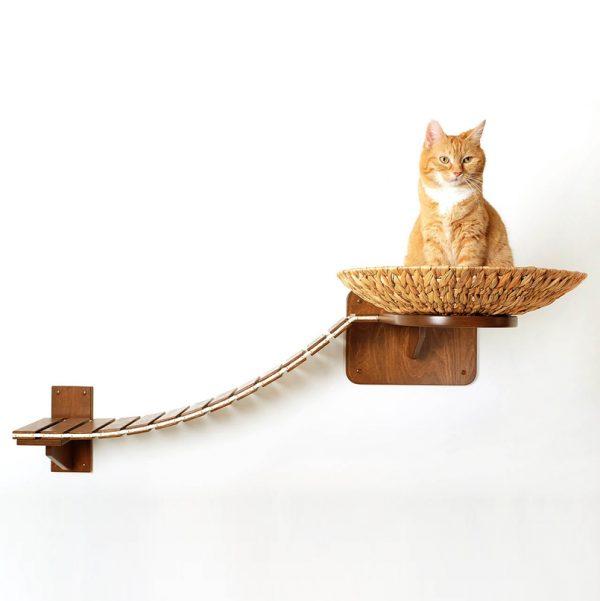 Arbre à chat mural en bois