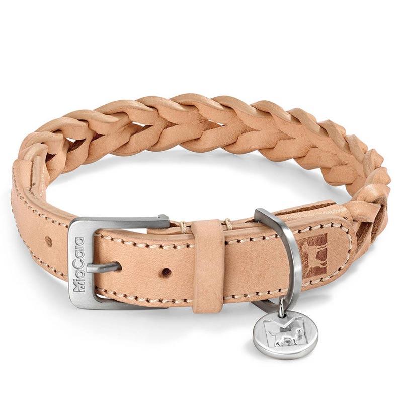 collier en cuir tressé pour chien bergamo