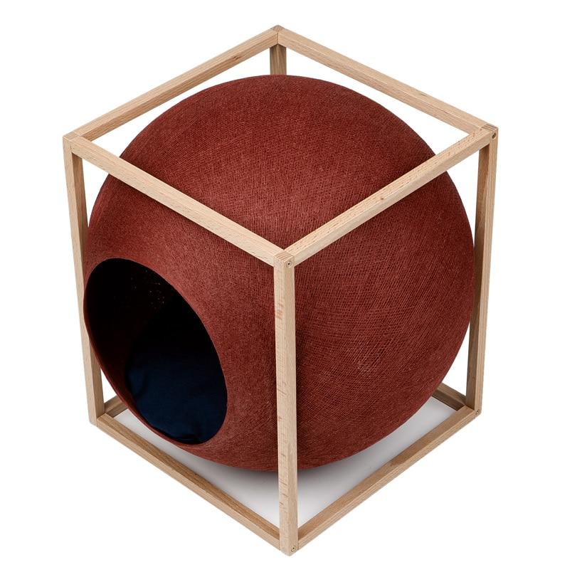 cube meyou panier design pour chat argile