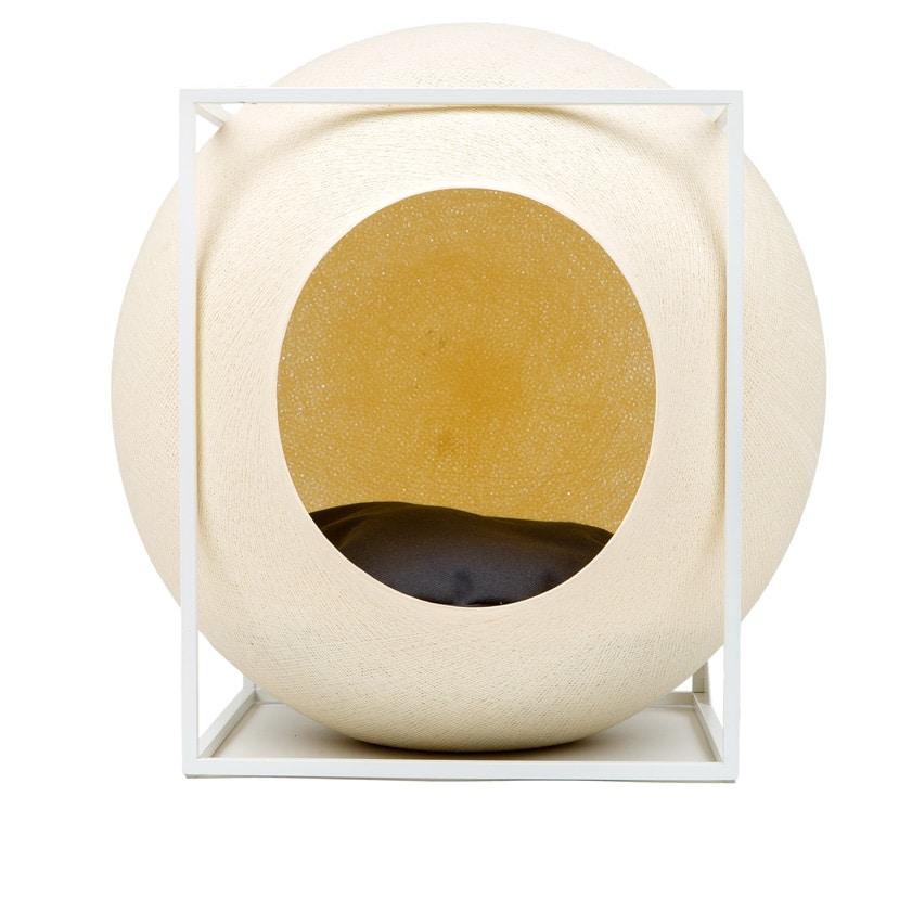 cube meyou panier design pour chat champagne