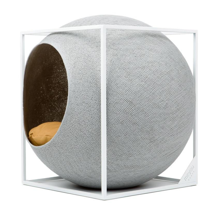 cube meyou panier design pour chat gris clair