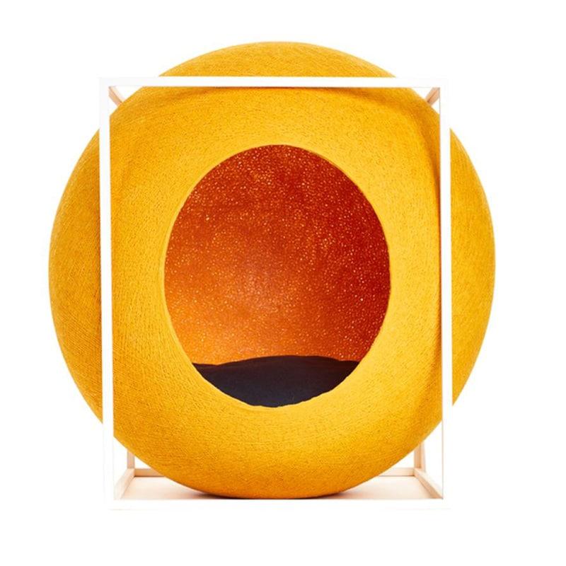 cube meyou panier design pour chat jaune